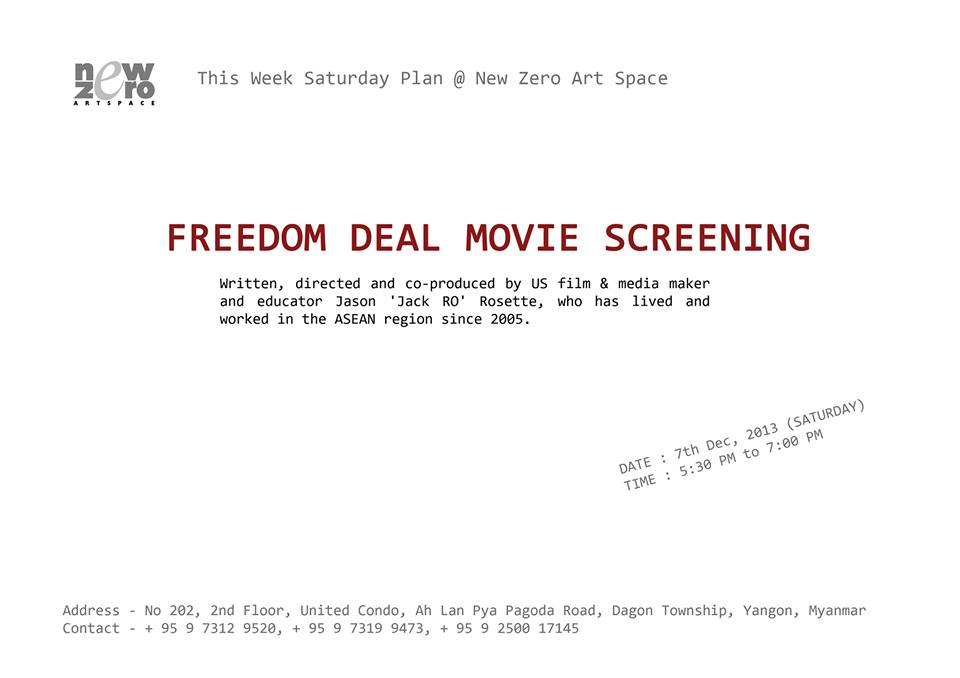 FREEDOM DEAL: The Story of Lucky screening in Yangon at the New Zero Art Space